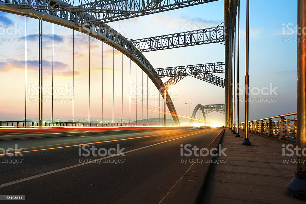 bridge with blue sky background of a city stock photo