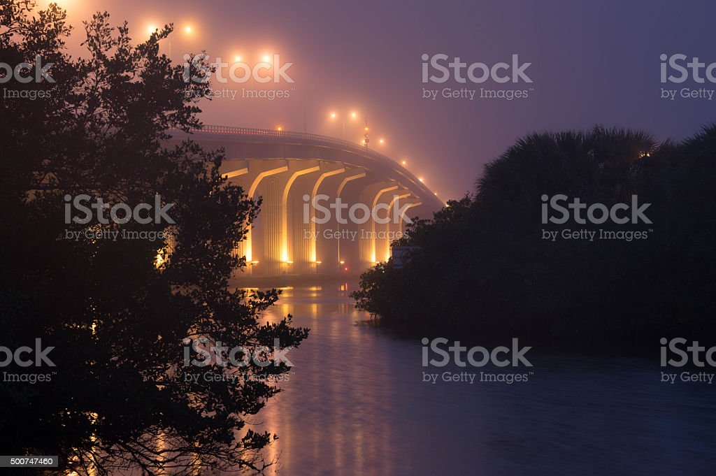 Bridge with Early Morning Fog stock photo