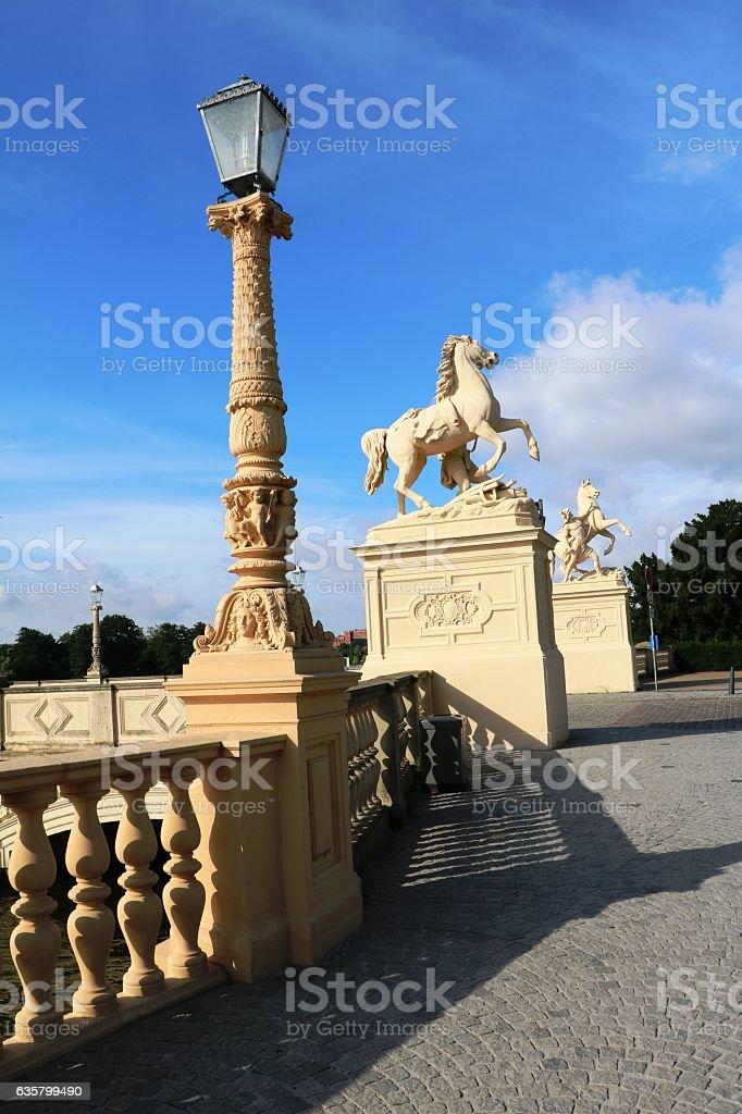 Bridge with Pegasus sculptures in Schwerin, Germany stock photo