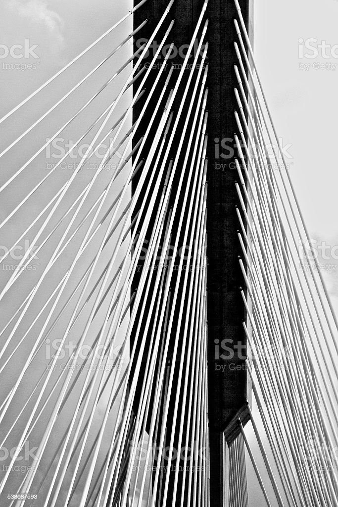 Cable Bridge in black and white,monochrome with steel cables for...