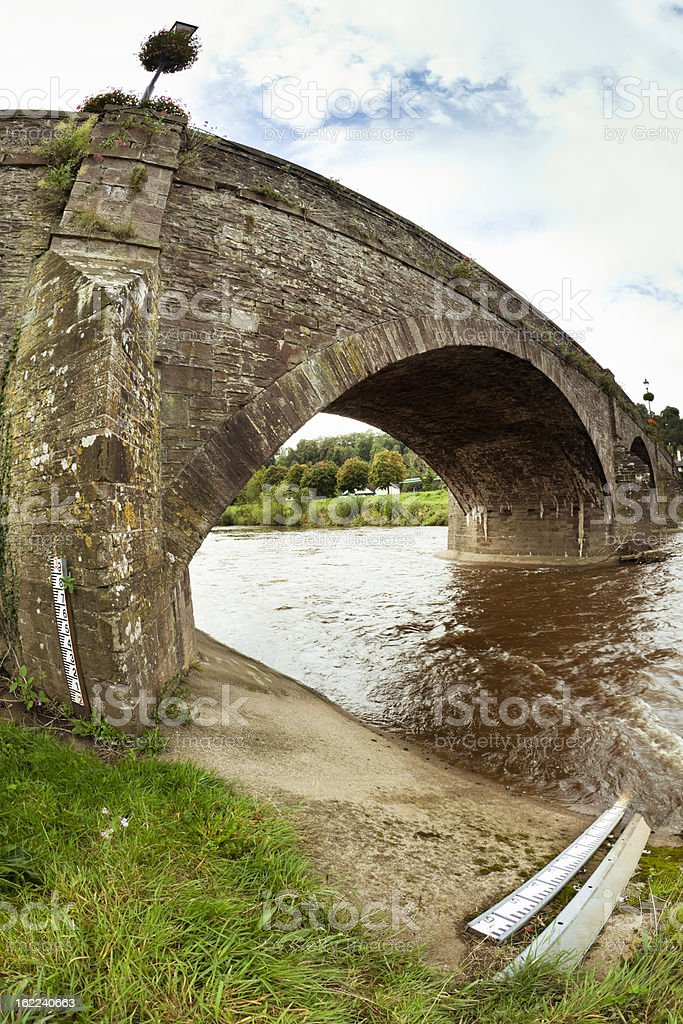 bridge with water level measurement tools stock photo
