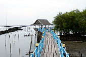 Bridge wooden walkway out to sea, tropical summer Thailand