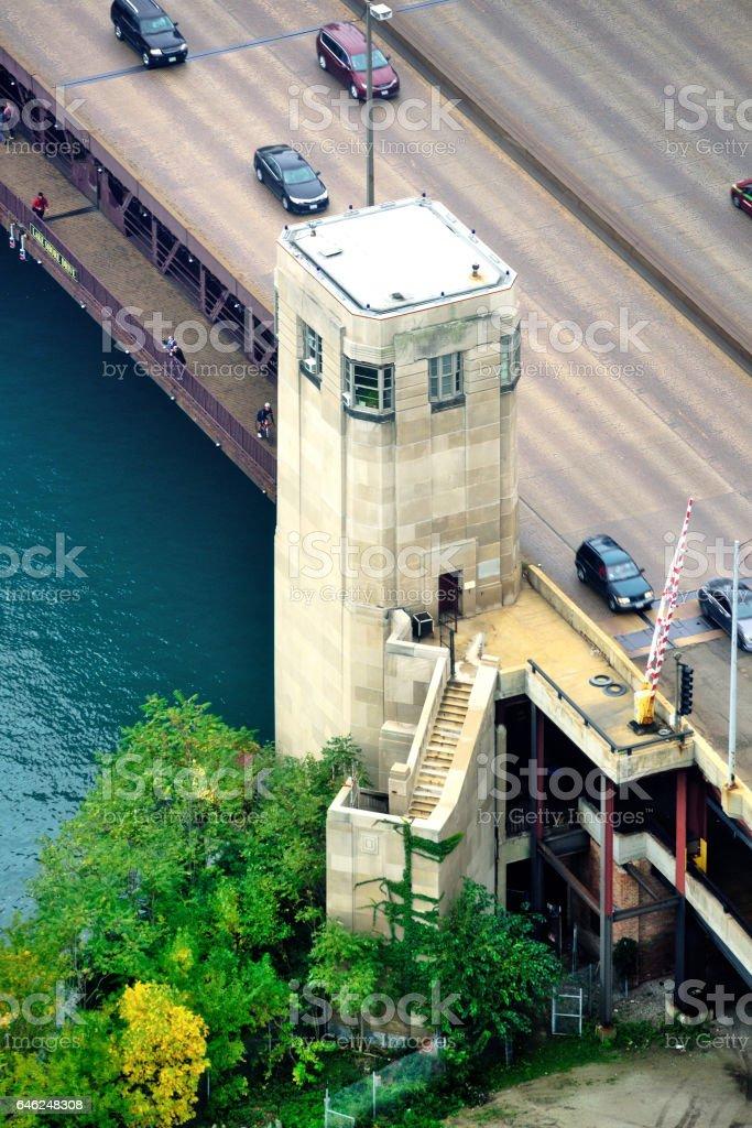 Bridgehouse, Lake Shore Drive Bridge, Chicago stock photo
