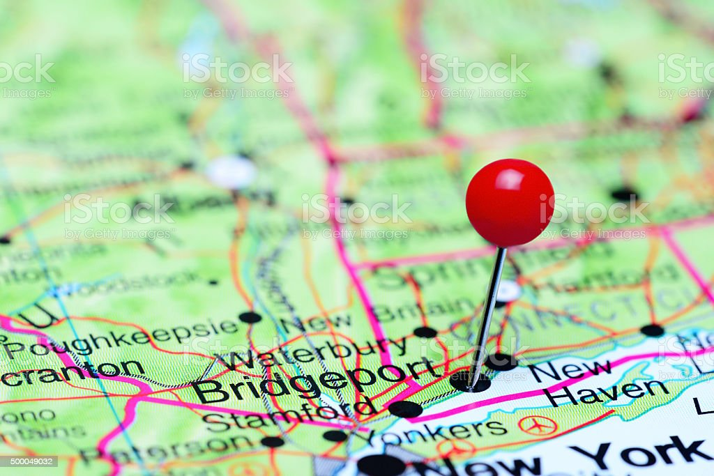 Bridgeport pinned on a map of USA stock photo