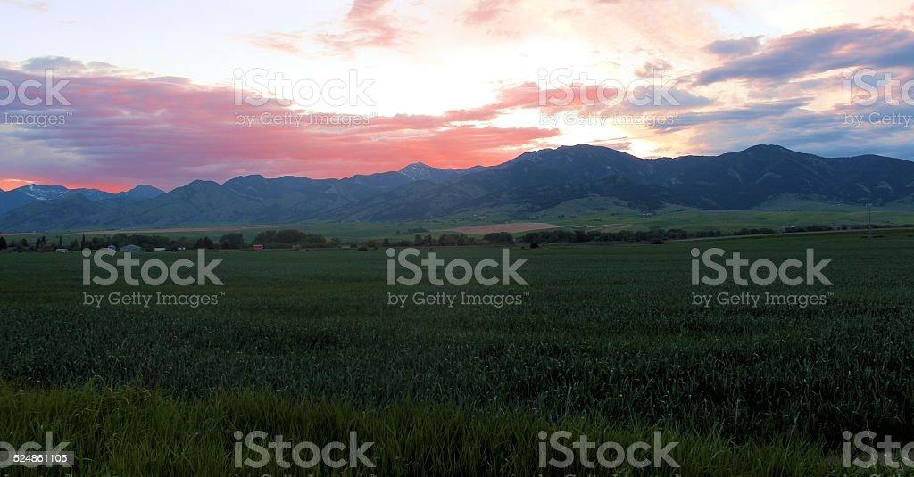 Bridger Mountain sunrise stock photo