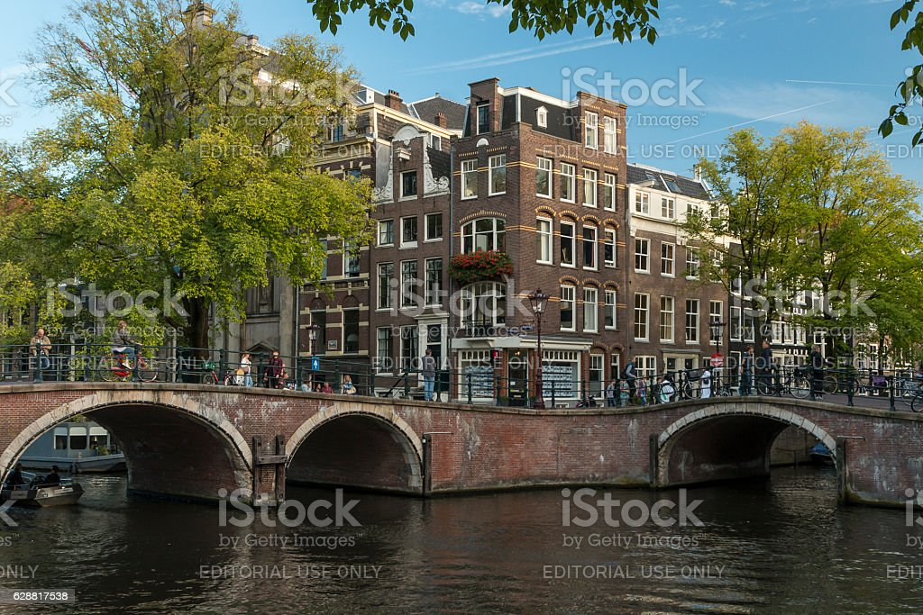Bridges and buildings in Amsterdam. stock photo