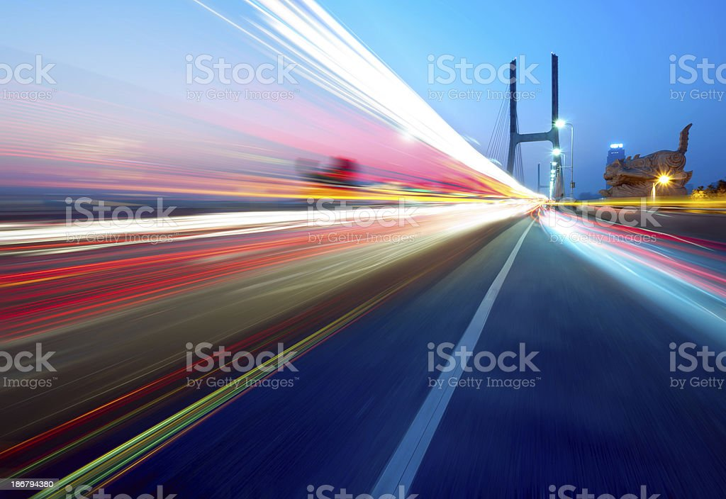 Bridges and light trails royalty-free stock photo