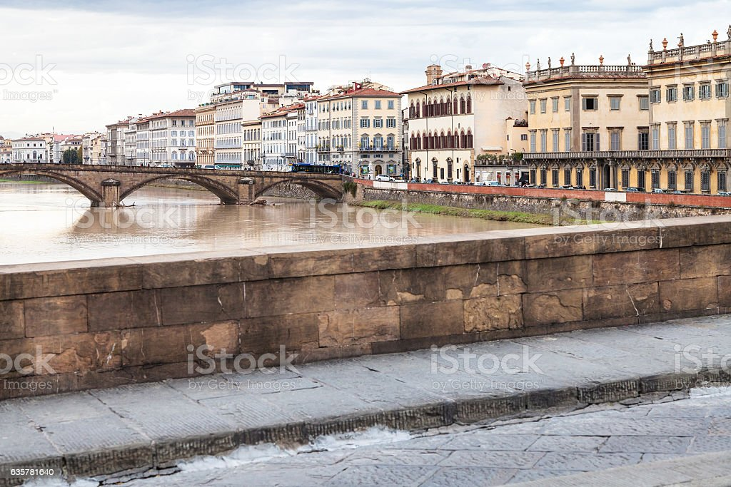 bridges and quay in Florence city in autumn stock photo