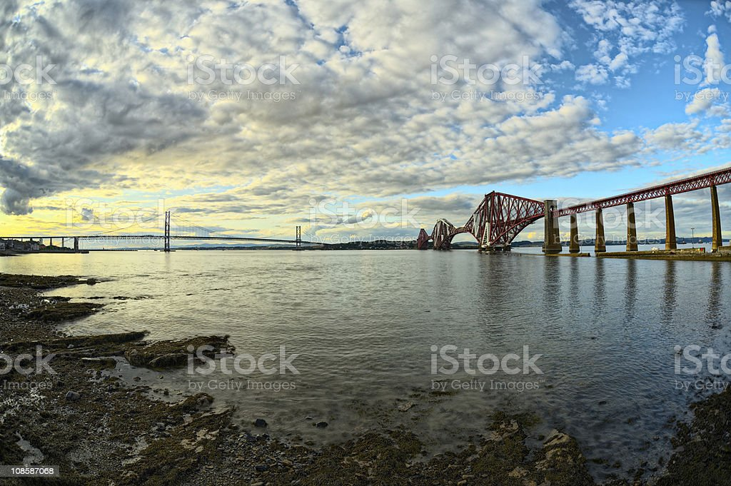 Bridges, Firth of Forth, Scotland, at sunset, from South Queensferry stock photo