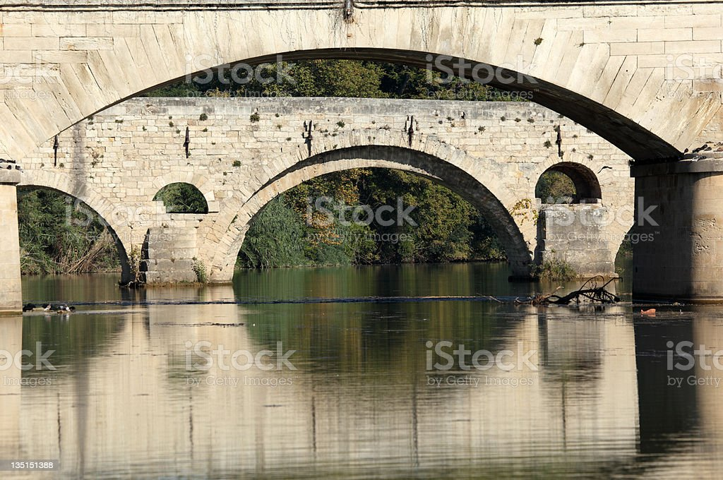 Bridges in Beziers, France royalty-free stock photo