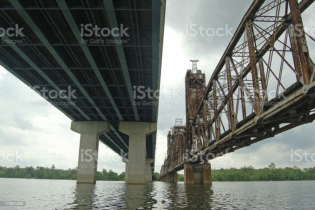 Bridges: New and Old stock photo