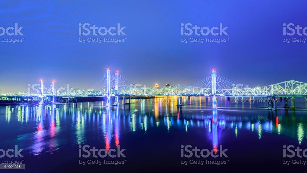 Bridges of Louisville KY at dawn stock photo