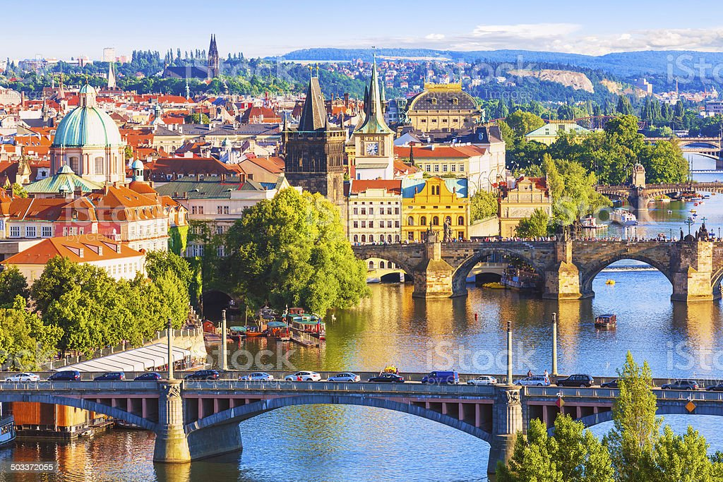 Bridges of Prague, Czech Republic stock photo