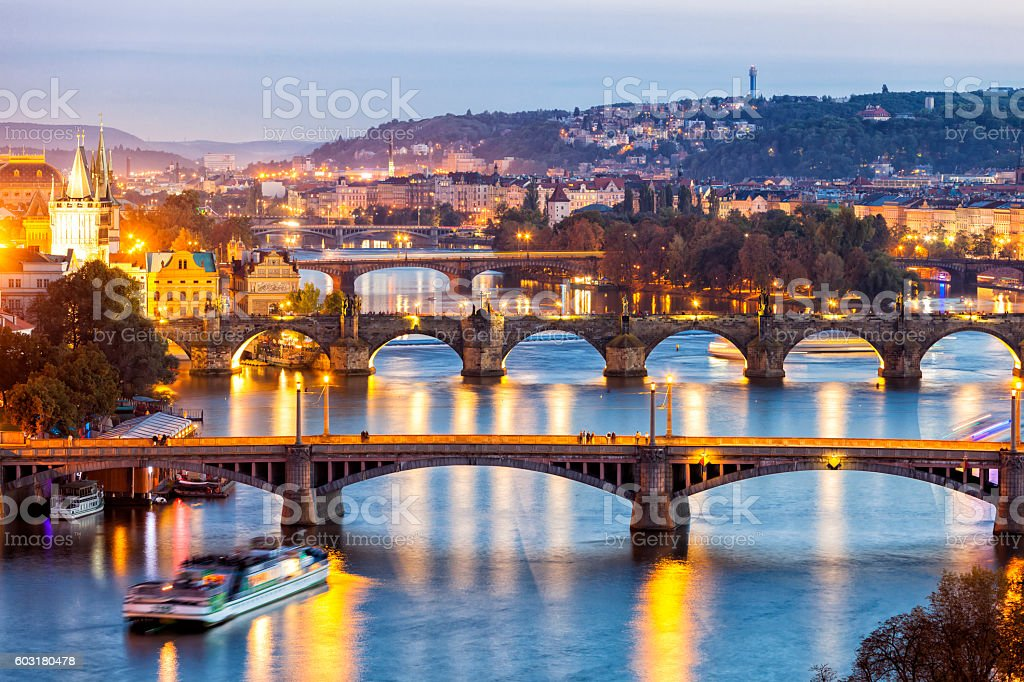 Bridges on Vltava River at Dusk in Prague, Czech Republic stock photo