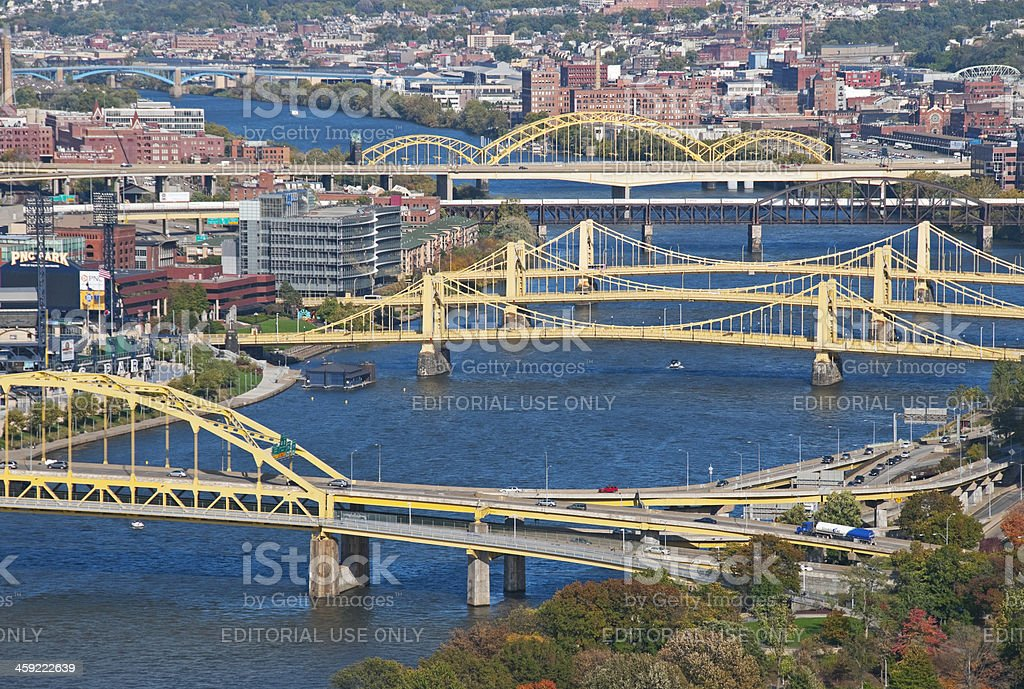 Bridges over Allegheny River in Pittsburgh stock photo