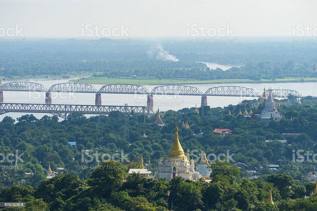 Bridges over Ayeyarwady River view from Sagaing hill, Mandalay city stock photo
