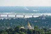 Bridges over Ayeyarwady River view from Sagaing hill, Mandalay city