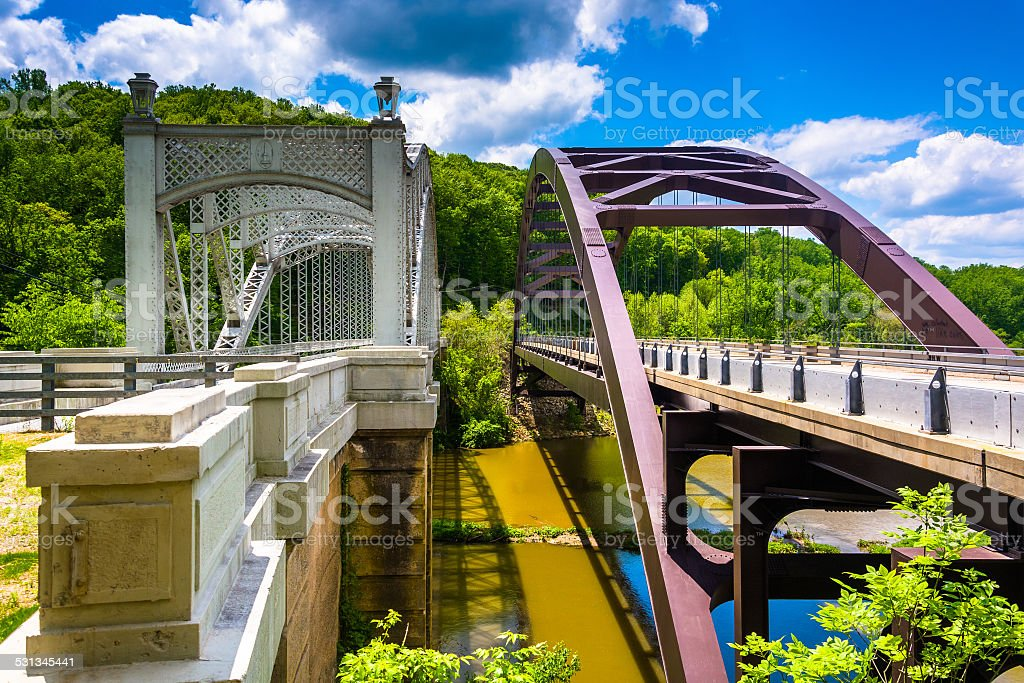 Bridges over Loch Raven Reservoir, in Baltimore, Maryland. stock photo