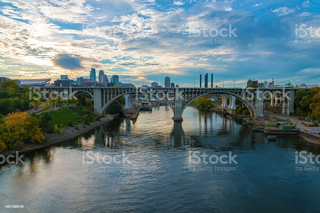 Bridges Over the Mississippi River and Skyline in Minneapolis stock photo