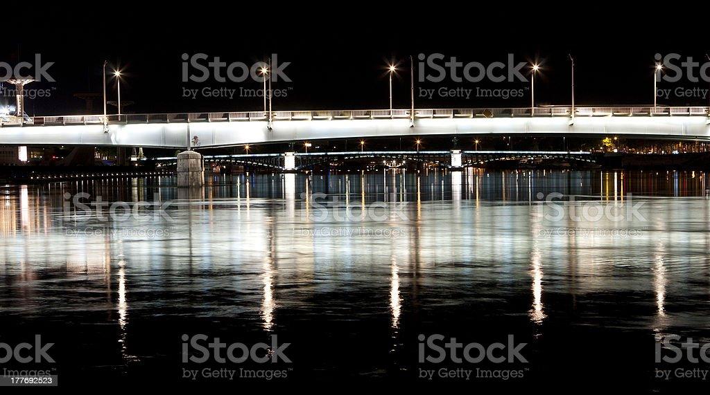 Bridges over the river at night, Lyon stock photo