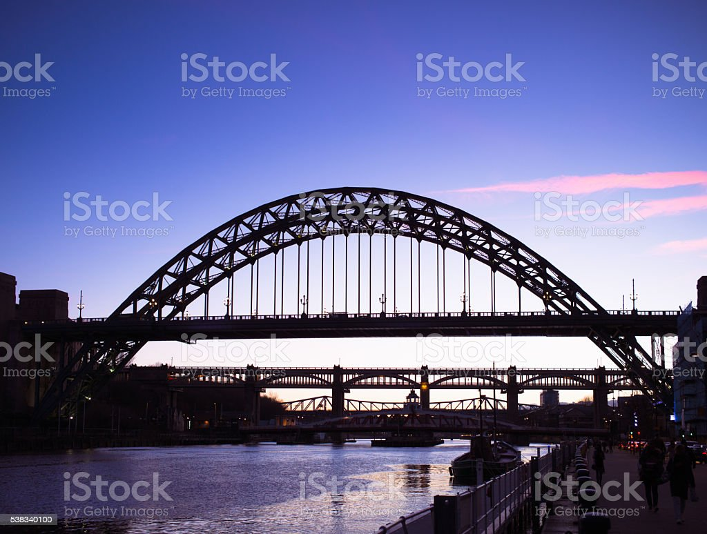 Bridges over the River Tyne in Newcastle at dusk stock photo