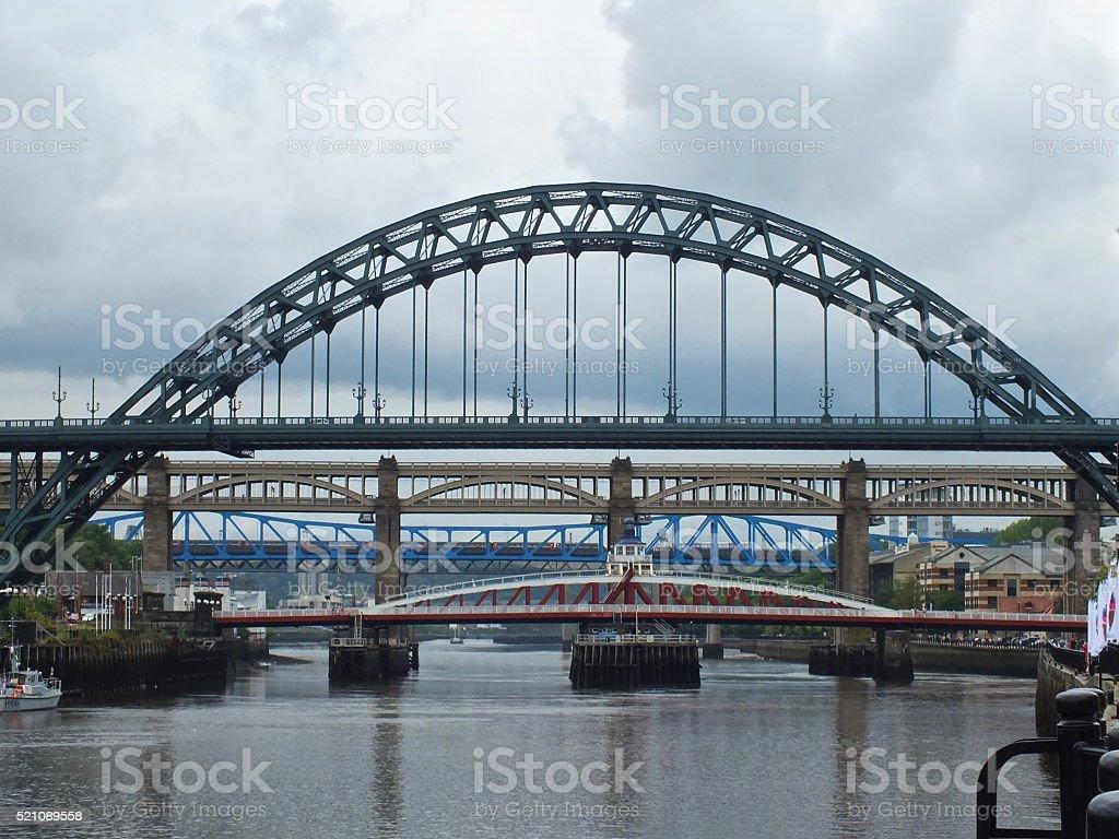 Bridges over the River Tyne stock photo