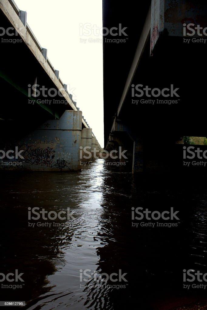 Bridges Perspective over South Platte River near Greeley Colorado stock photo