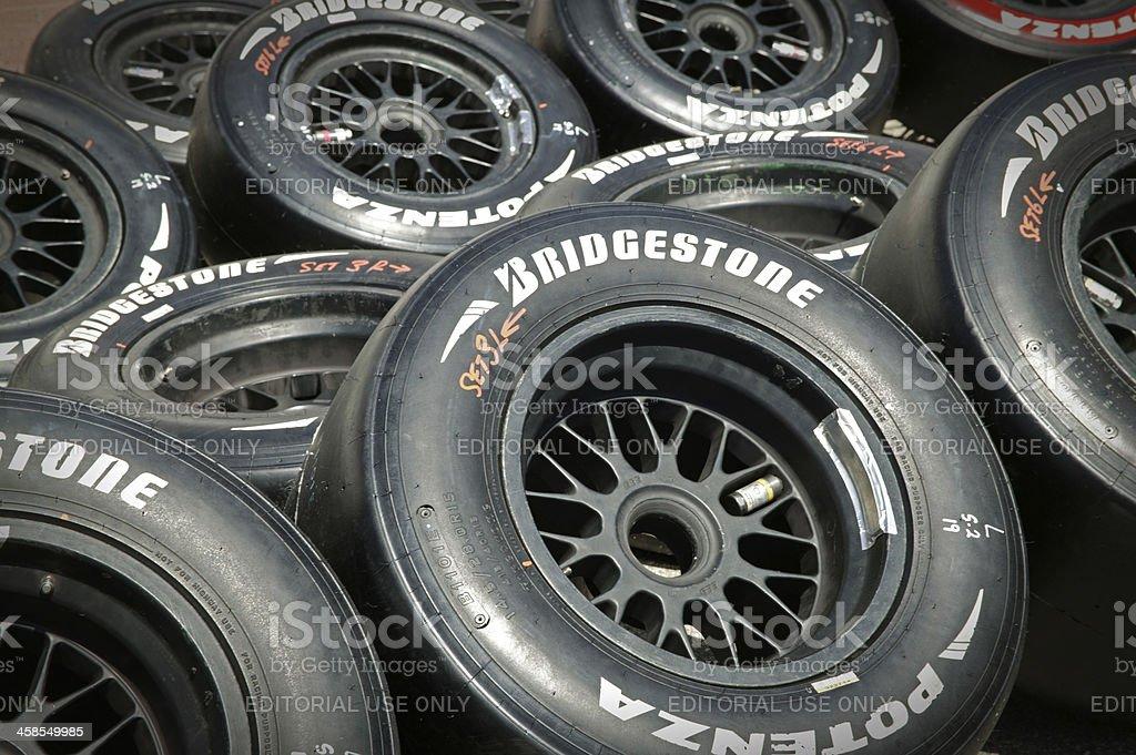 Bridgestone Potenza race tires at Grand Prix stock photo
