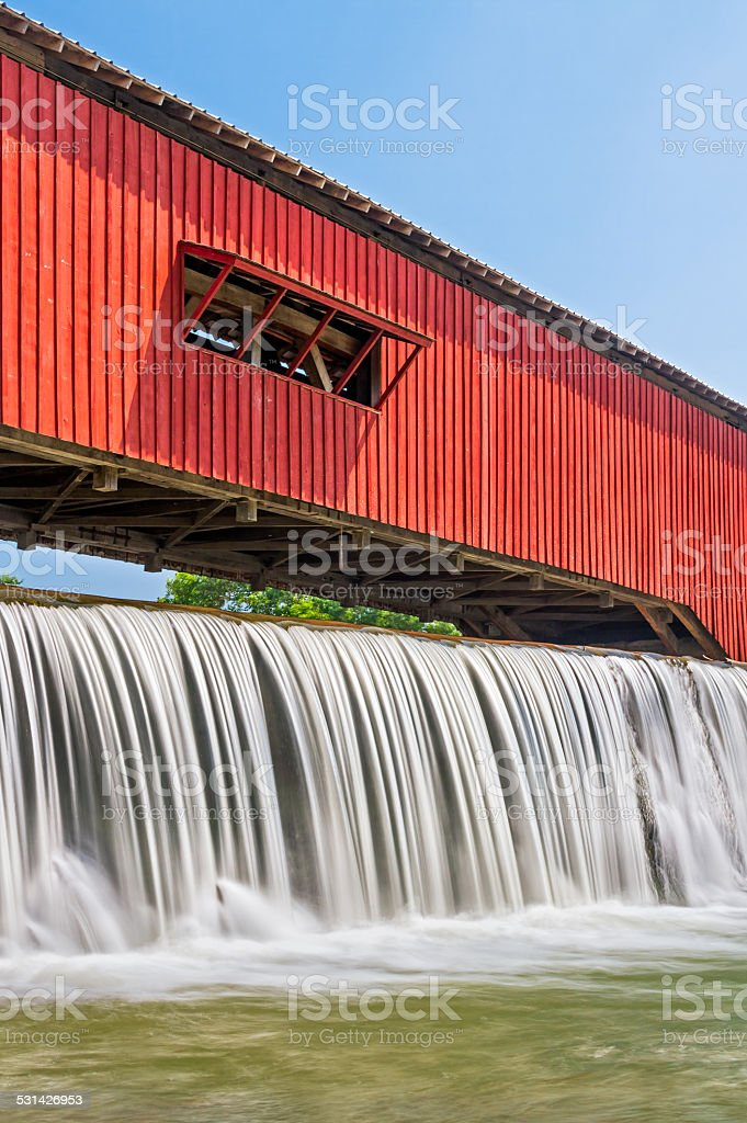 Bridgeton Covered Bridge and Waterfall stock photo