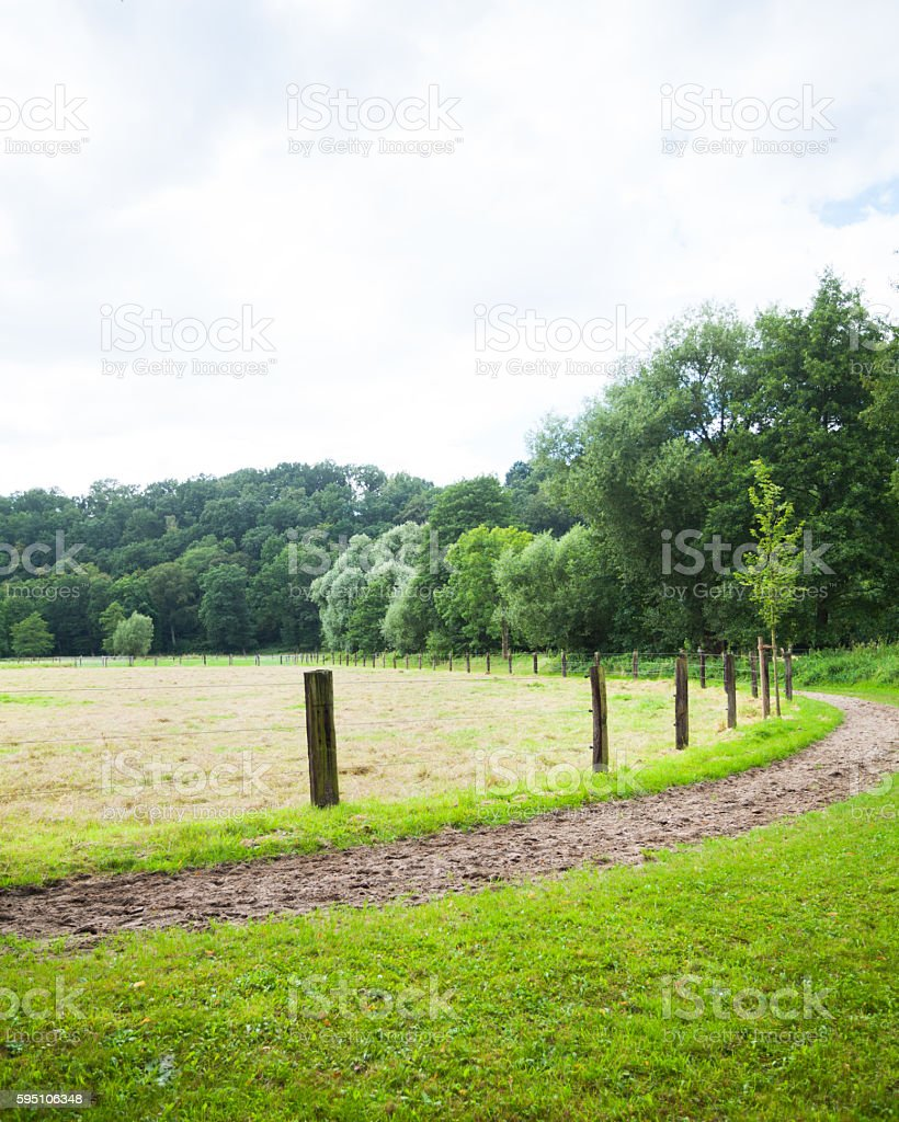 Bridle path around meadow stock photo
