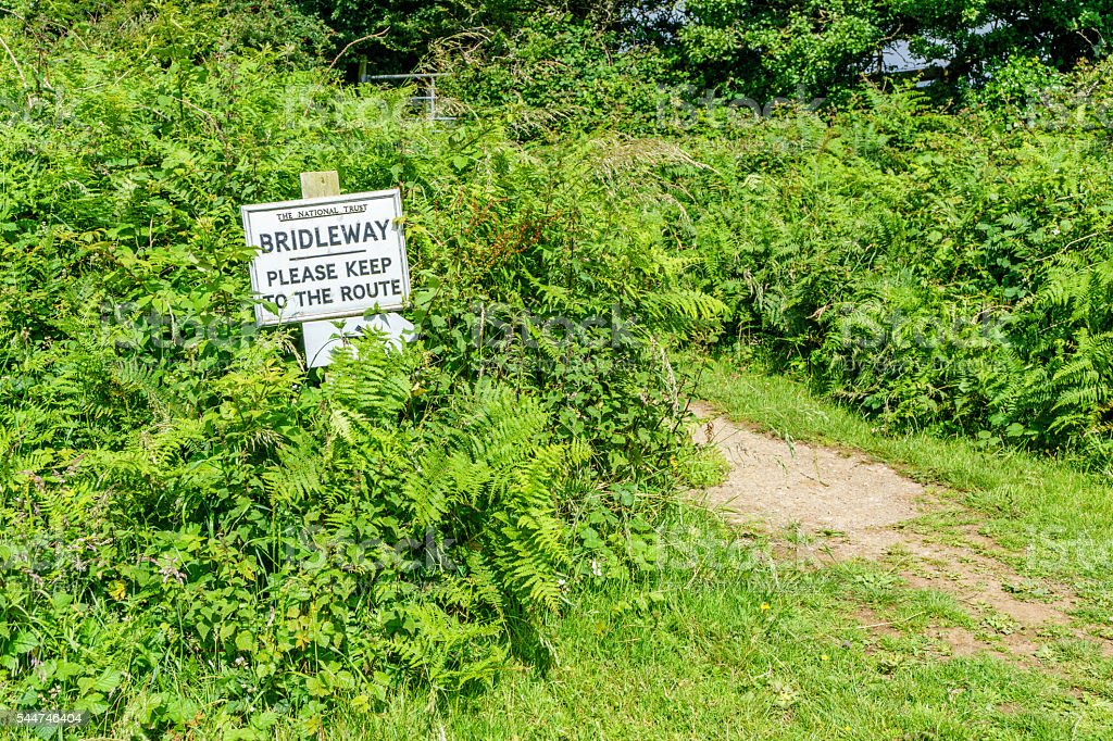 Bridleway sign in Welsh countryside stock photo