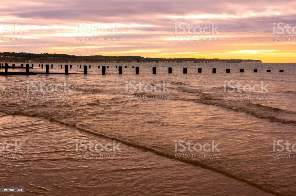 Bridlington North Beach and Flamborough Head stock photo