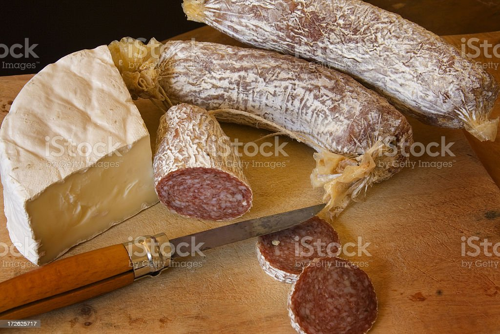 Brie and Sausages Hz stock photo