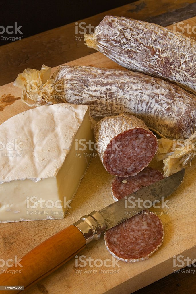 Brie and Sausages Vt stock photo