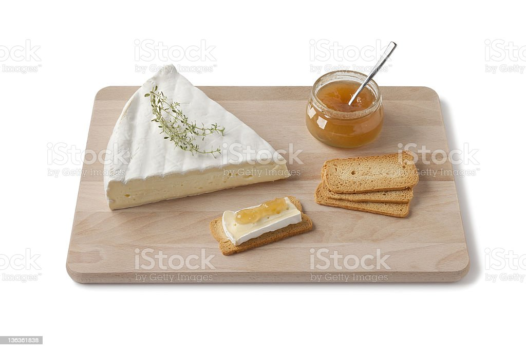 Brie cheese with thyme and toast stock photo