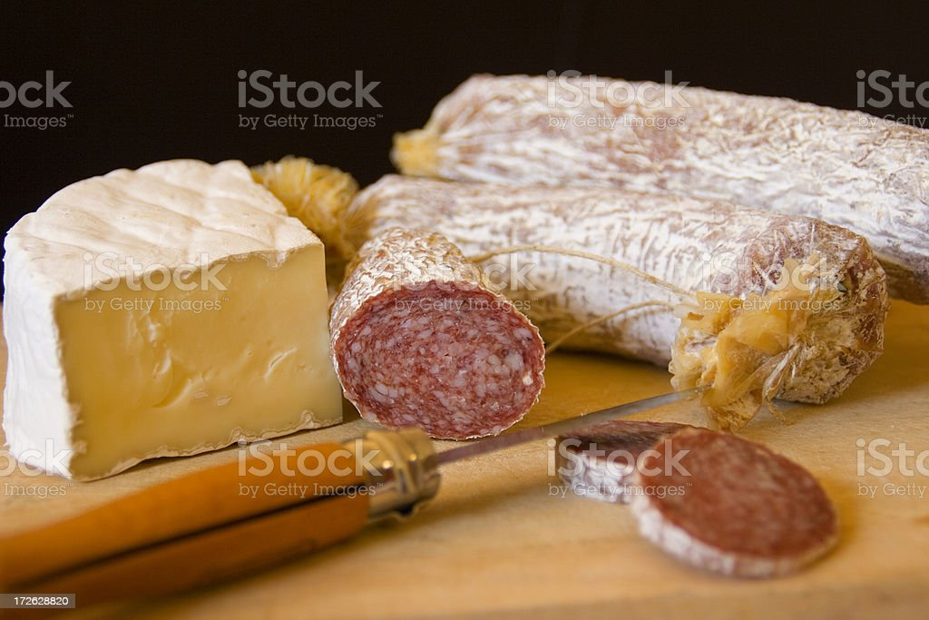 Brie & Sausages on Board Hz stock photo