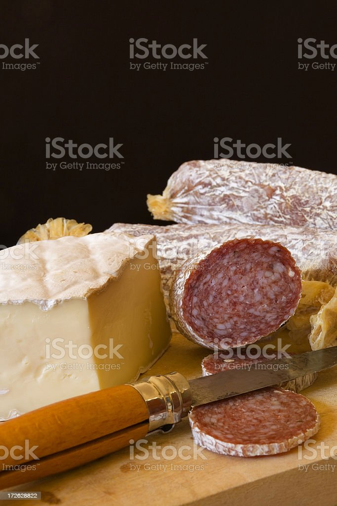 Brie & Sausages on Board Vt stock photo