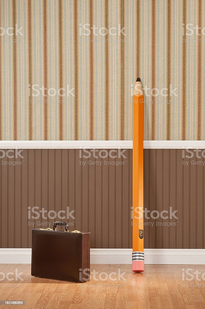 Brief Case And Giant Pencil royalty-free stock photo