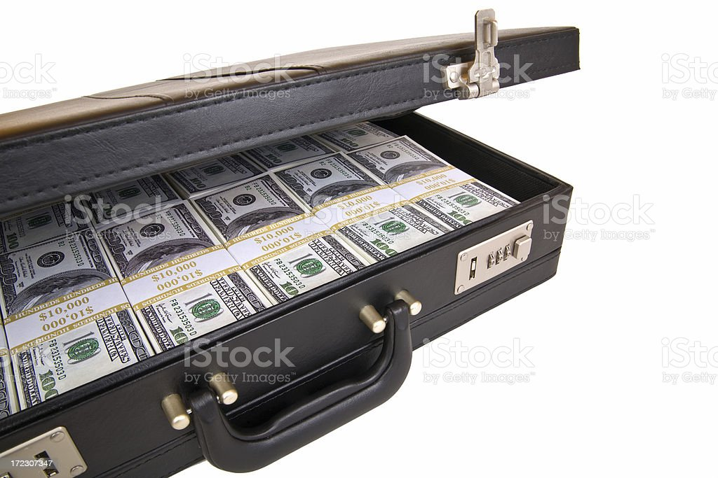 Briefcase Full of Cash stock photo