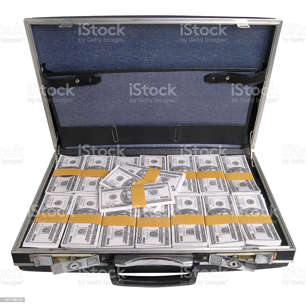 Briefcase full of money with clipping path stock photo
