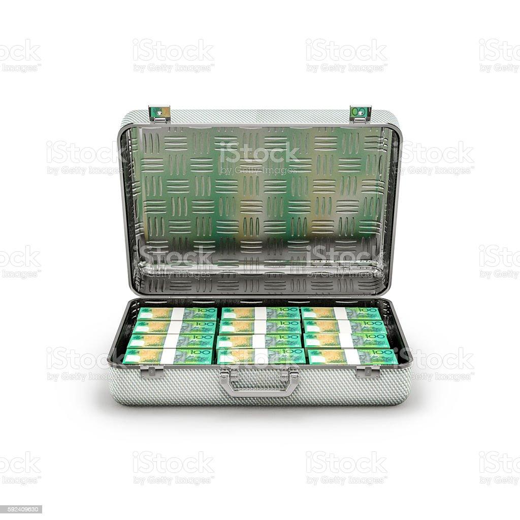 Briefcase ransom Australian dollars stock photo