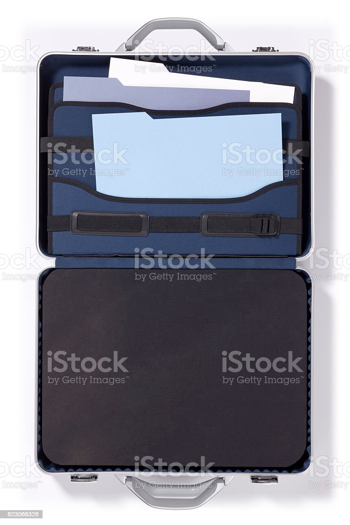 Briefcase with Files on a white Background stock photo
