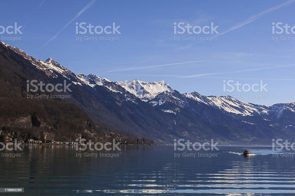 Brienz lake with mountain. stock photo