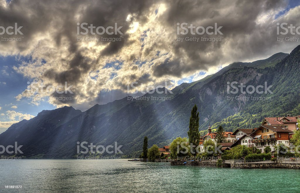 Brienz sunbeams royalty-free stock photo