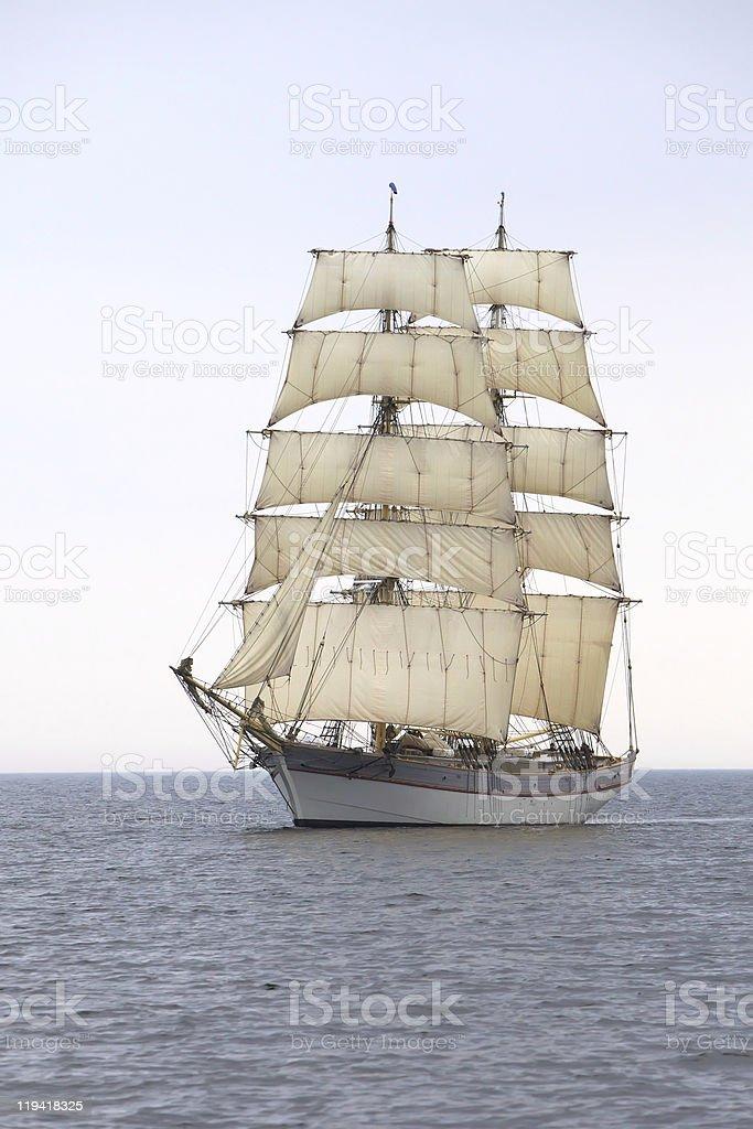 Briga Tre Kronor at sea stock photo