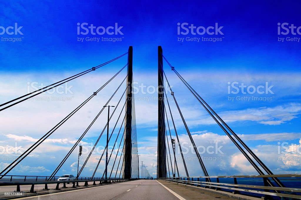 Brigde connecting Sweden and Denmark stock photo