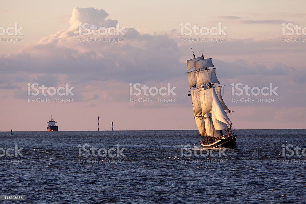 Brigg Morgenster on the North Sea at Cuxhaven stock photo