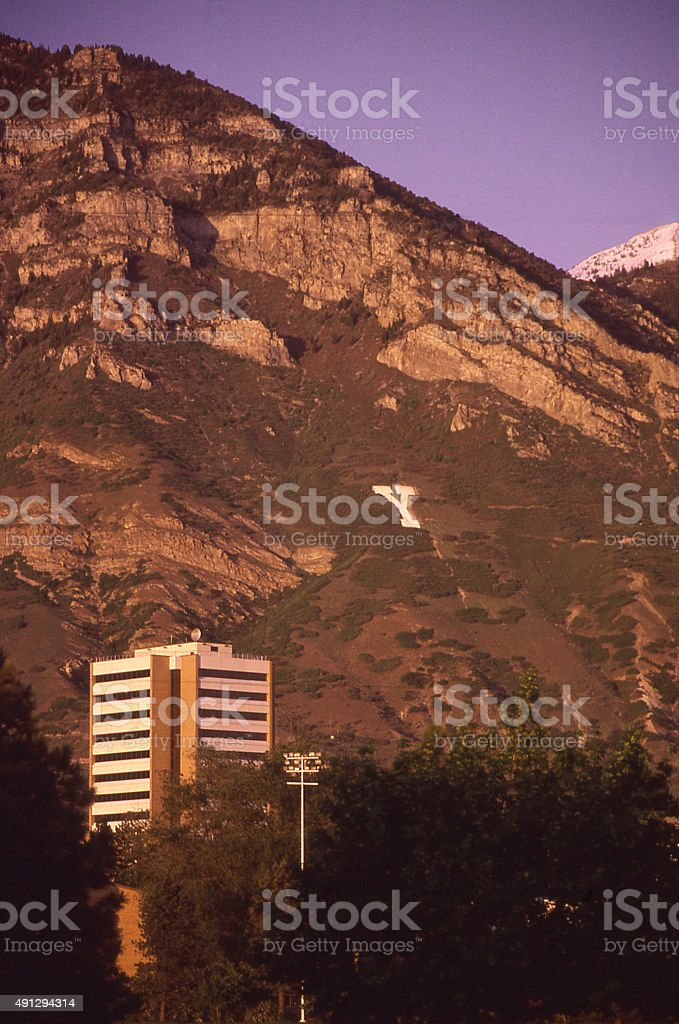 Brigham Young University campus Y on mountainside Provo Utah stock photo