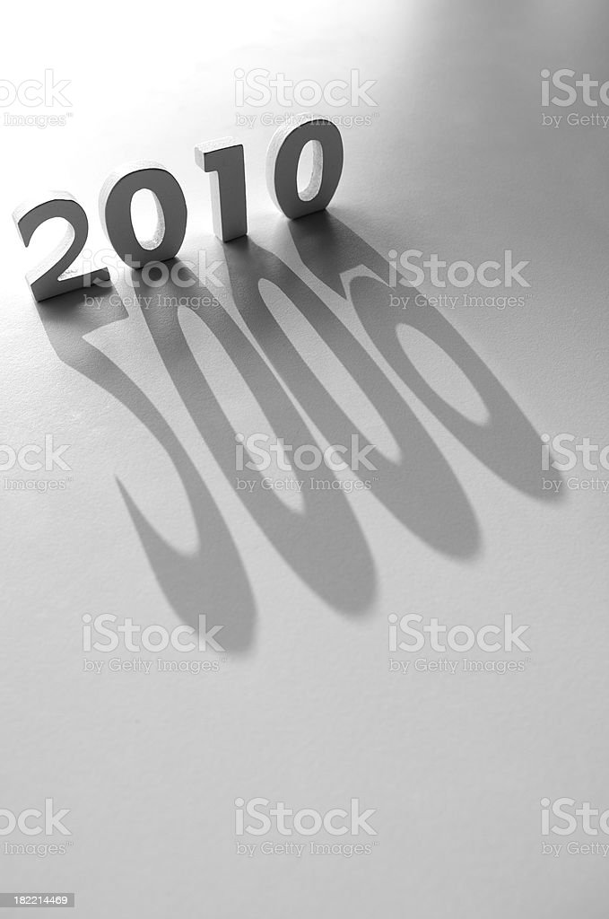 Bright 2010 Message w 2009 Shadow stock photo