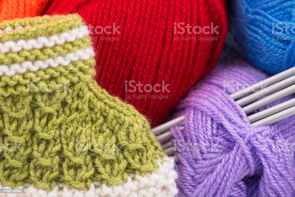 Bright acrylic yarn stock photo